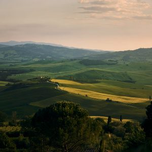 Sunset over the val de'orcia valley in tuscany
